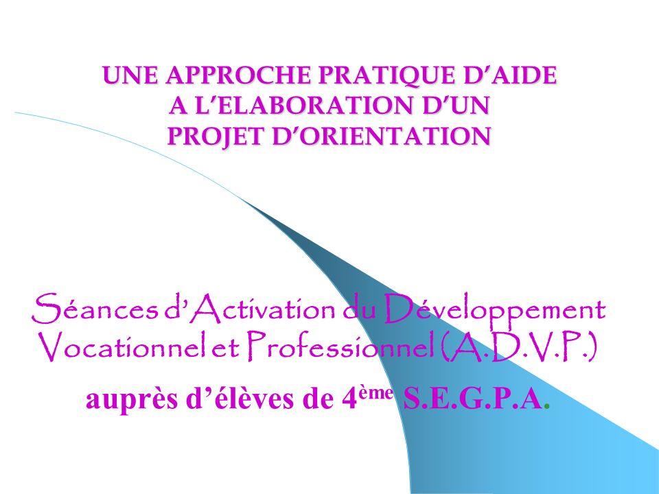 UNE APPROCHE PRATIQUE DAIDE A LELABORATION DUN PROJET DORIENTATION Séances dActivation du Développement Vocationnel et Professionnel (A.D.V.P.) auprès