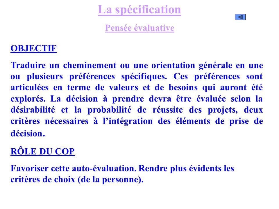 La spécification Pensée évaluative OBJECTIF Traduire un cheminement ou une orientation générale en une ou plusieurs préférences spécifiques. Ces préfé