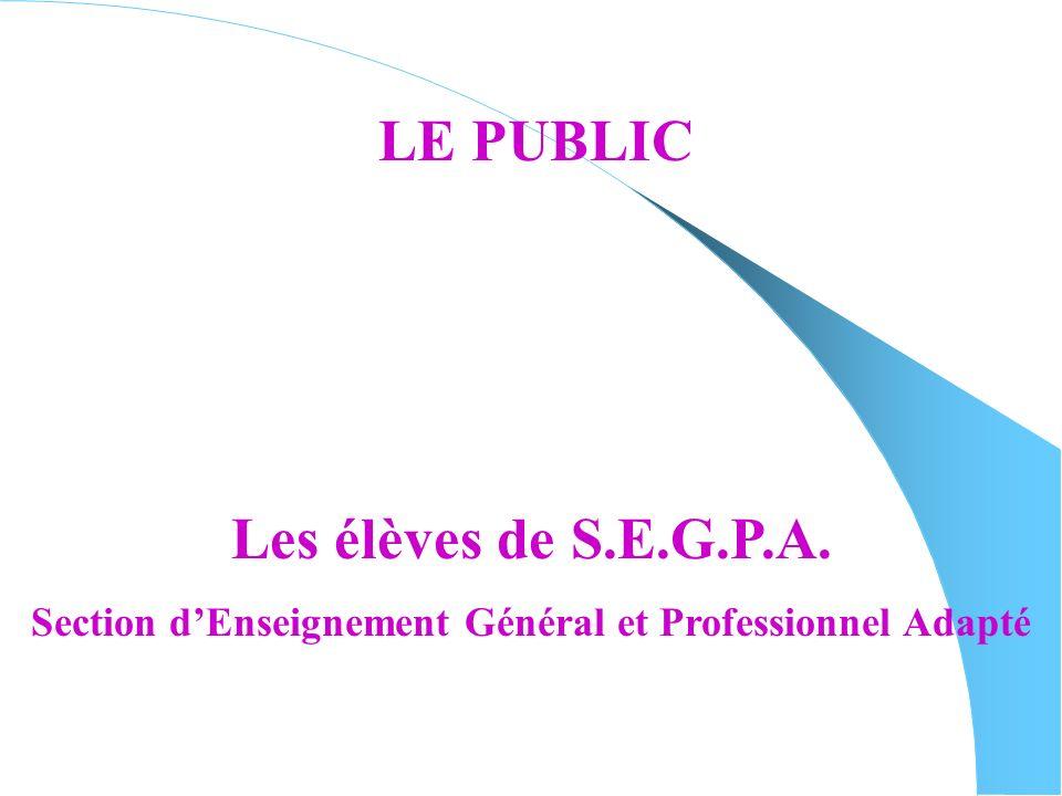 LE PUBLIC Les élèves de S.E.G.P.A. Section dEnseignement Général et Professionnel Adapté