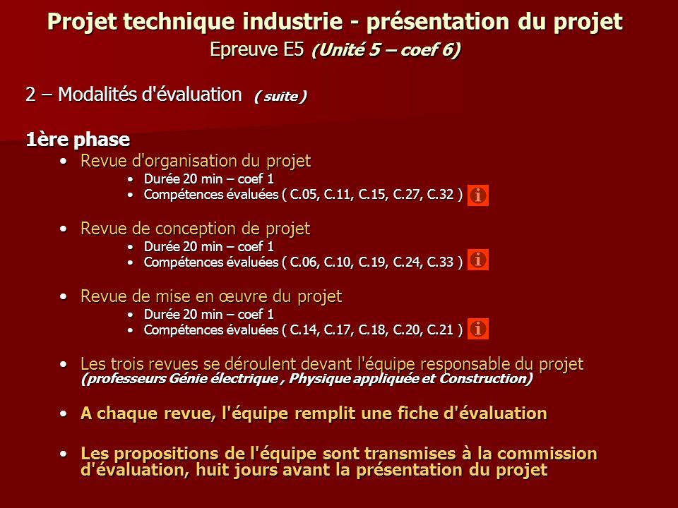 Projet technique industrie - présentation du projet Epreuve E5 ( Unité 5 – coef 6) 2 – Modalités d'évaluation ( suite ) 1ère phase Revue d'organisatio
