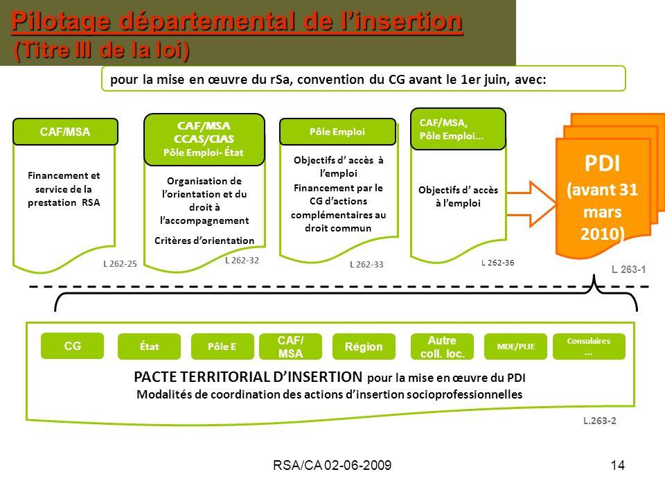 RSA/CA 02-06-200914 PACTE TERRITORIAL DINSERTION pour la mise en œuvre du PDI Modalités de coordination des actions dinsertion socioprofessionnelles L 262-33 pour la mise en œuvre du rSa, convention du CG avant le 1er juin, avec: PDI (avant 31 mars 2010) Organisation de lorientation et du droit à laccompagnement Critères dorientation Objectifs d accès à lemploi Financement par le CG dactions complémentaires au droit commun Financement et service de la prestation RSA L 262-32 L 262-25 CAF/MSA CCAS/CIAS Pôle Emploi- État CAF/MSA Pôle Emploi L 263-1 Pôle E CAF/ MSA Région Autre coll.