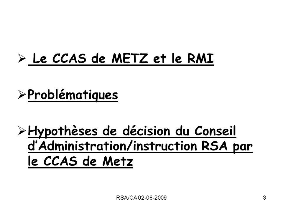 RSA/CA 02-06-20093 Le CCAS de METZ et le RMI Problématiques Hypothèses de décision du Conseil dAdministration/instruction RSA par le CCAS de Metz