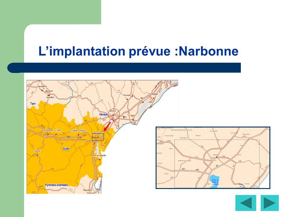 Limplantation prévue :Narbonne