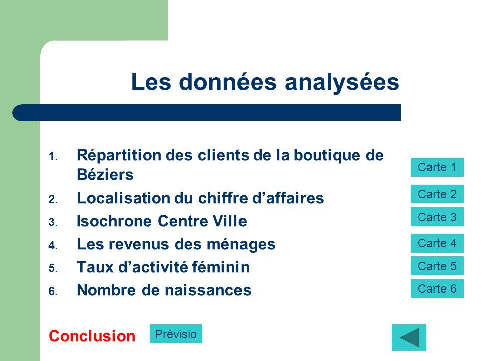 Les données analysées 1. Répartition des clients de la boutique de Béziers 2. Localisation du chiffre daffaires 3. Isochrone Centre Ville 4. Les reven