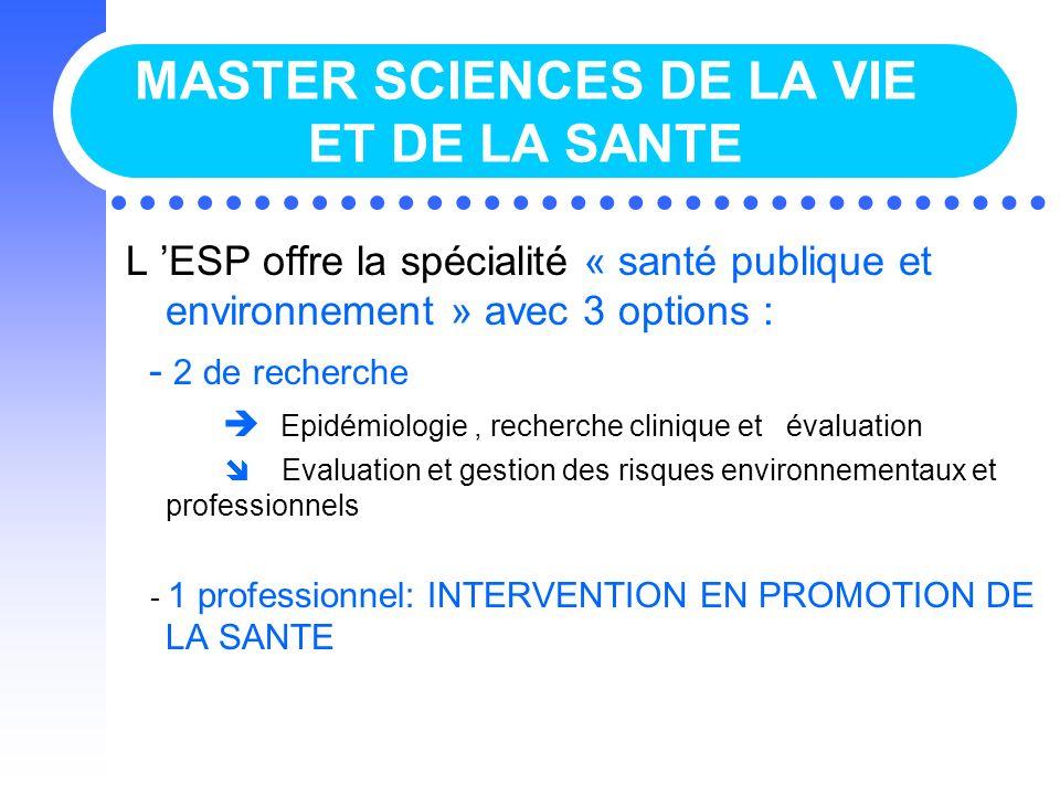 MASTER SCIENCES DE LA VIE ET DE LA SANTE L ESP offre la spécialité « santé publique et environnement » avec 3 options : - 2 de recherche Epidémiologie