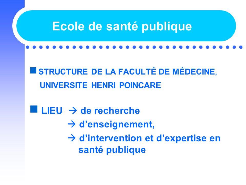 Ecole de santé publique STRUCTURE DE LA FACULTÉ DE MÉDECINE, UNIVERSITE HENRI POINCARE LIEU de recherche denseignement, dintervention et dexpertise en