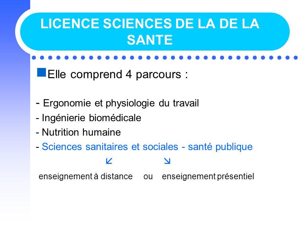 LICENCE SCIENCES DE LA DE LA SANTE Elle comprend 4 parcours : - Ergonomie et physiologie du travail - Ingénierie biomédicale - Nutrition humaine - Sci