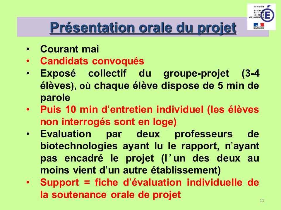 11 Présentation orale du projet Courant mai Candidats convoqués Exposé collectif du groupe-projet (3-4 élèves ), où chaque élève dispose de 5 min de p