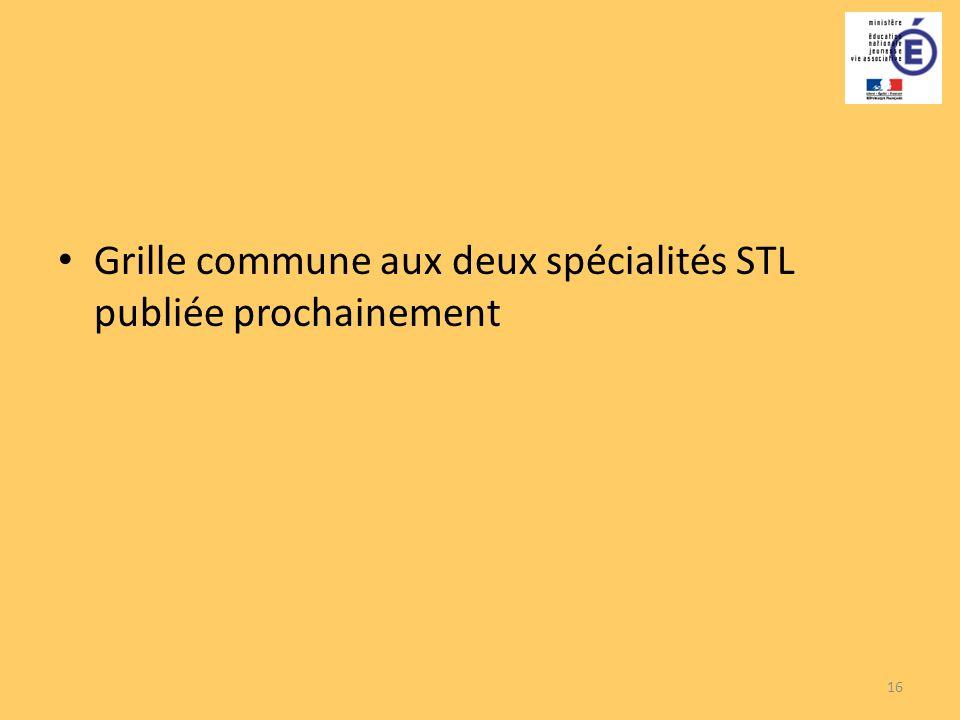 16 Grille commune aux deux spécialités STL publiée prochainement