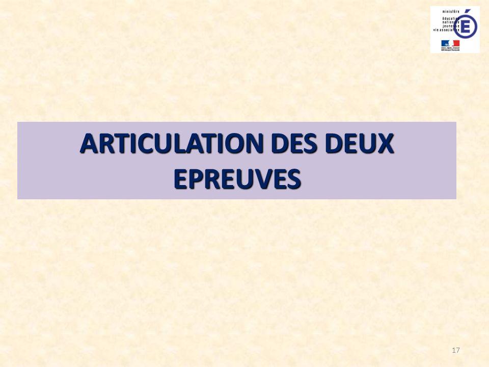 17 ARTICULATION DES DEUX EPREUVES