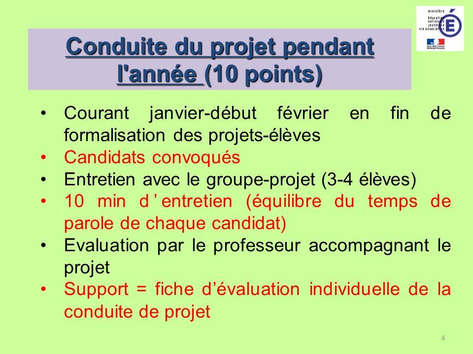 4 Conduite du projet pendant l'année (10 points) Courant janvier-début février en fin de formalisation des projets-élèves Candidats convoqués Entretie
