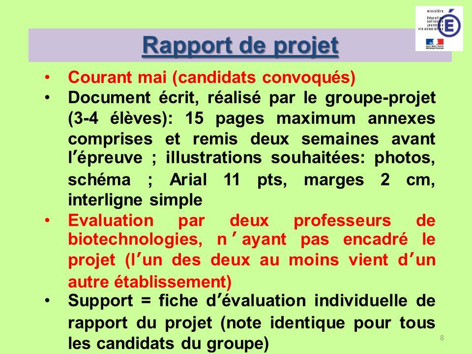 8 Rapport de projet Courant mai (candidats convoqués) Document écrit, réalisé par le groupe-projet (3-4 élèves): 15 pages maximum annexes comprises et
