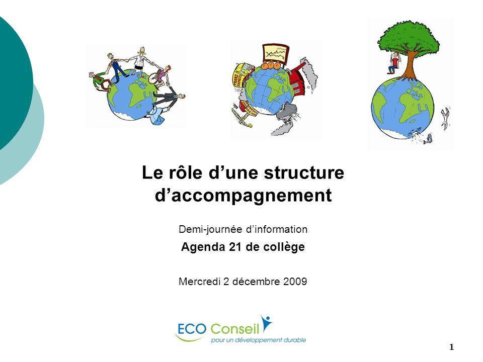 ECO-Conseil1 Le rôle dune structure daccompagnement Demi-journée dinformation Agenda 21 de collège Mercredi 2 décembre 2009