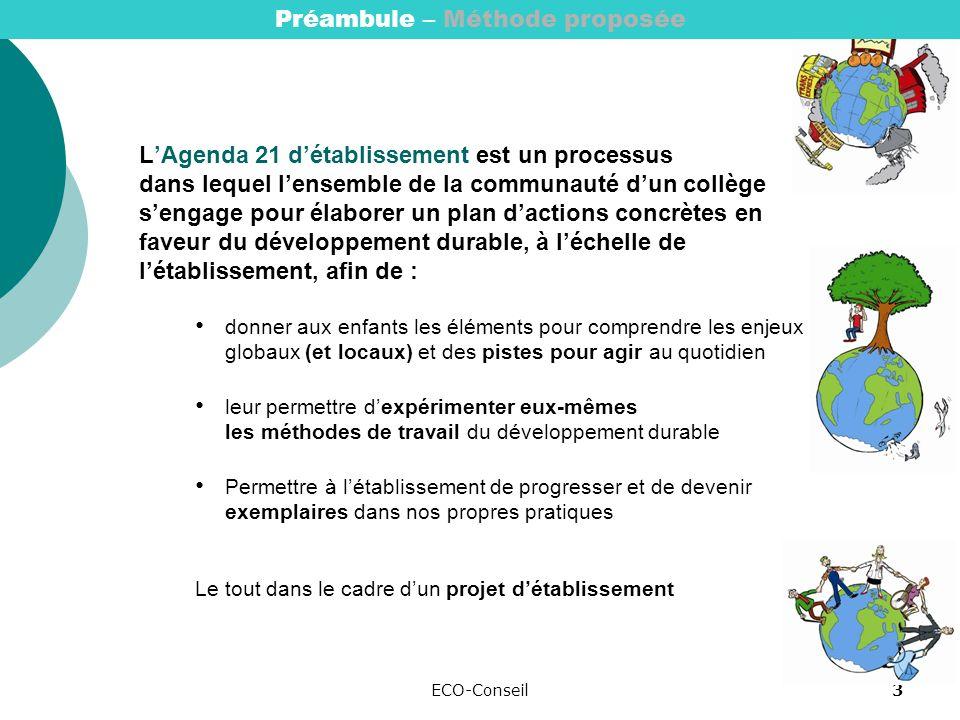 ECO-Conseil3 LAgenda 21 détablissement est un processus dans lequel lensemble de la communauté dun collège sengage pour élaborer un plan dactions concrètes en faveur du développement durable, à léchelle de létablissement, afin de : donner aux enfants les éléments pour comprendre les enjeux globaux (et locaux) et des pistes pour agir au quotidien leur permettre dexpérimenter eux-mêmes les méthodes de travail du développement durable Permettre à létablissement de progresser et de devenir exemplaires dans nos propres pratiques Le tout dans le cadre dun projet détablissement Préambule – Méthode proposée
