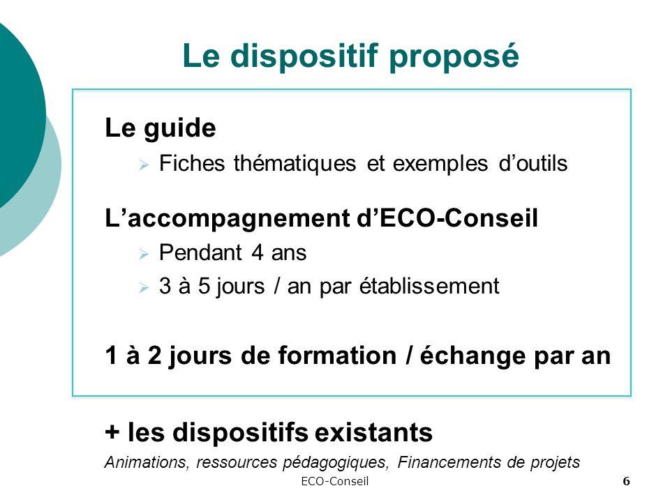 ECO-Conseil6 Le dispositif proposé Le guide Fiches thématiques et exemples doutils Laccompagnement dECO-Conseil Pendant 4 ans 3 à 5 jours / an par établissement 1 à 2 jours de formation / échange par an + les dispositifs existants Animations, ressources pédagogiques, Financements de projets