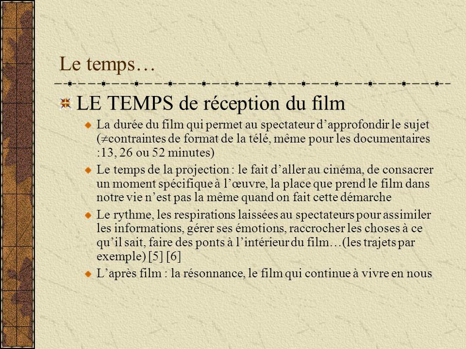 Le temps… LE TEMPS de réception du film La durée du film qui permet au spectateur dapprofondir le sujet ( contraintes de format de la télé, même pour