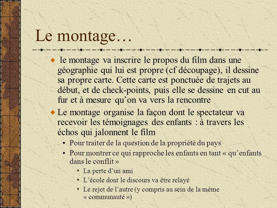 Le montage… le montage va inscrire le propos du film dans une géographie qui lui est propre (cf découpage), il dessine sa propre carte.