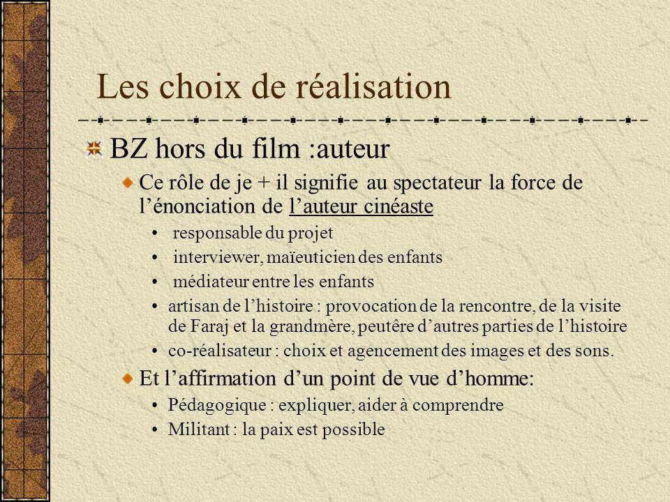Les choix de réalisation BZ hors du film :auteur Ce rôle de je + il signifie au spectateur la force de lénonciation de lauteur cinéaste responsable du