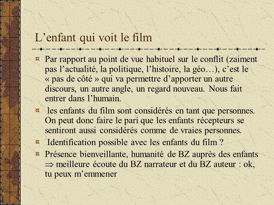 Lenfant qui voit le film Par rapport au point de vue habituel sur le conflit (zaiment pas lactualité, la politique, lhistoire, la géo…), cest le « pas