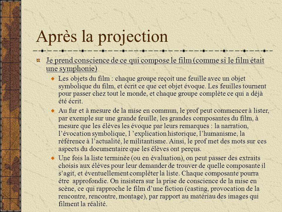 Après la projection Je prend conscience de ce qui compose le film (comme si le film était une symphonie) Les objets du film : chaque groupe reçoit une feuille avec un objet symbolique du film, et écrit ce que cet objet évoque.