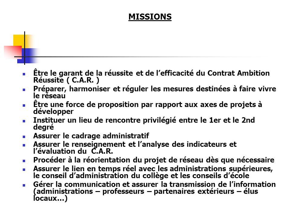 MISSIONS Être le garant de la réussite et de lefficacité du Contrat Ambition Réussite ( C.A.R. ) Préparer, harmoniser et réguler les mesures destinées