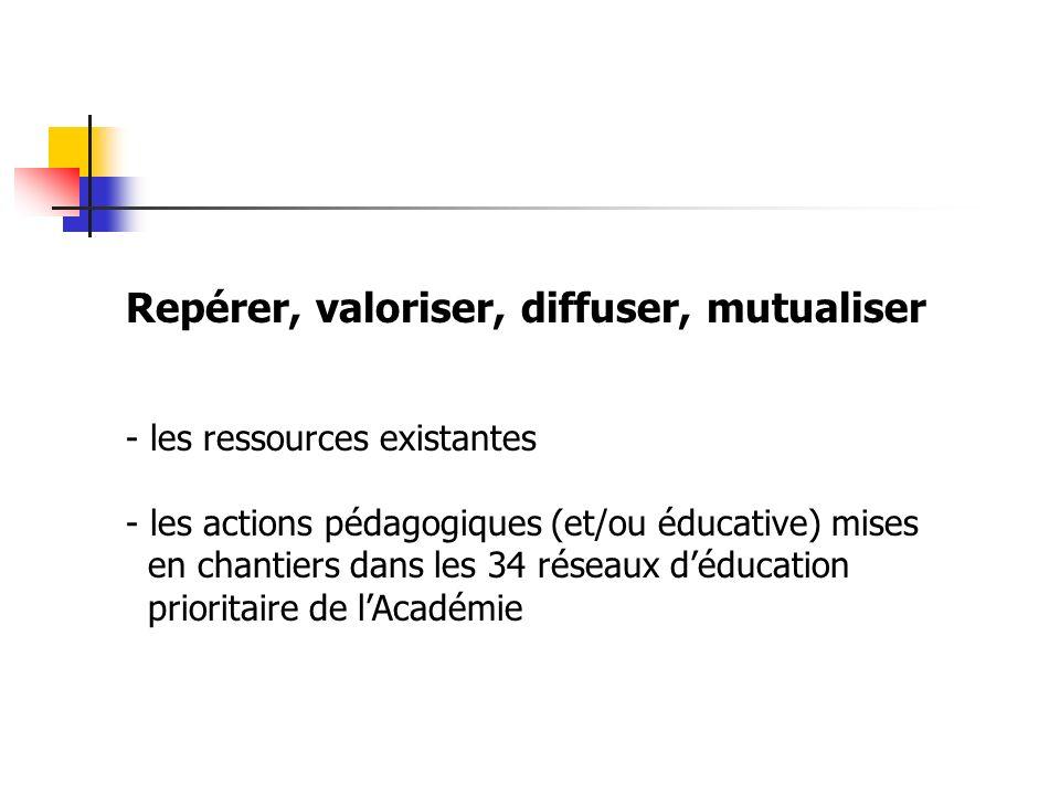 Repérer, valoriser, diffuser, mutualiser - les ressources existantes - les actions pédagogiques (et/ou éducative) mises en chantiers dans les 34 résea