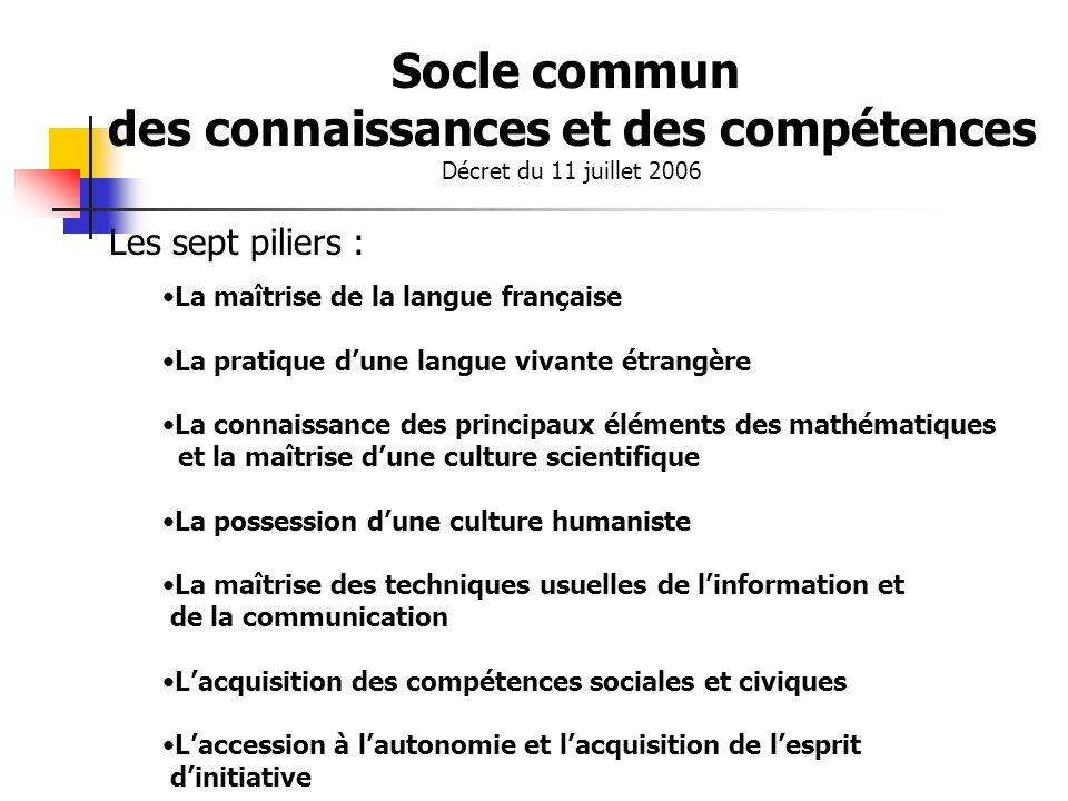 Socle commun des connaissances et des compétences Décret du 11 juillet 2006 Les sept piliers : La maîtrise de la langue française La pratique dune lan