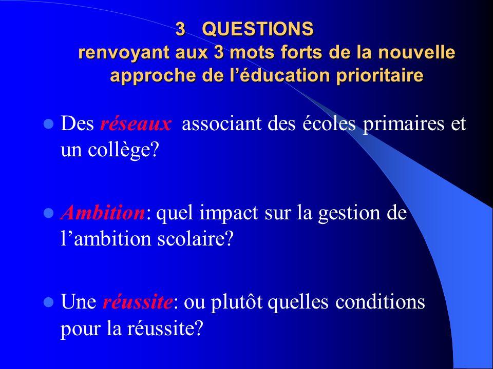 3 QUESTIONS renvoyant aux 3 mots forts de la nouvelle approche de léducation prioritaire Des réseaux associant des écoles primaires et un collège.