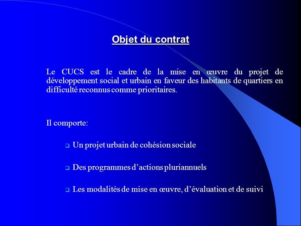 Objet du contrat Le CUCS est le cadre de la mise en œuvre du projet de développement social et urbain en faveur des habitants de quartiers en difficulté reconnus comme prioritaires.