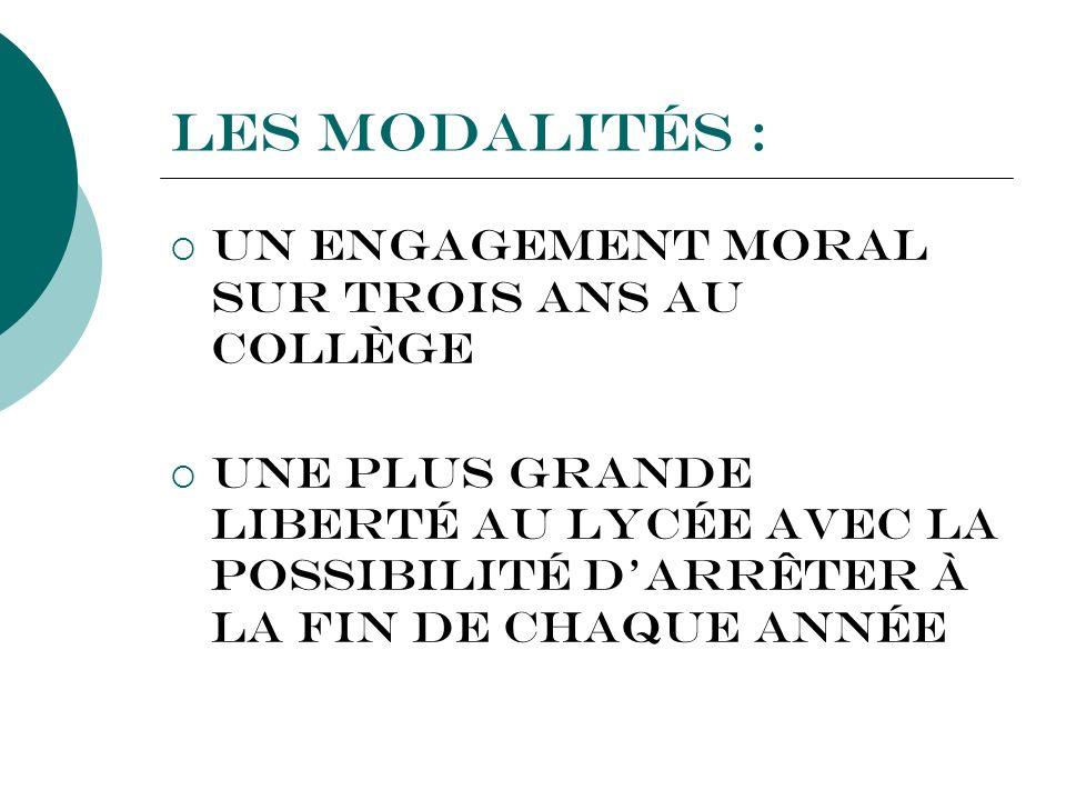 Les modalités : Un engagement moral sur trois ans au Collège Une plus grande liberté au Lycée avec la possibilité darrêter à la fin de chaque année
