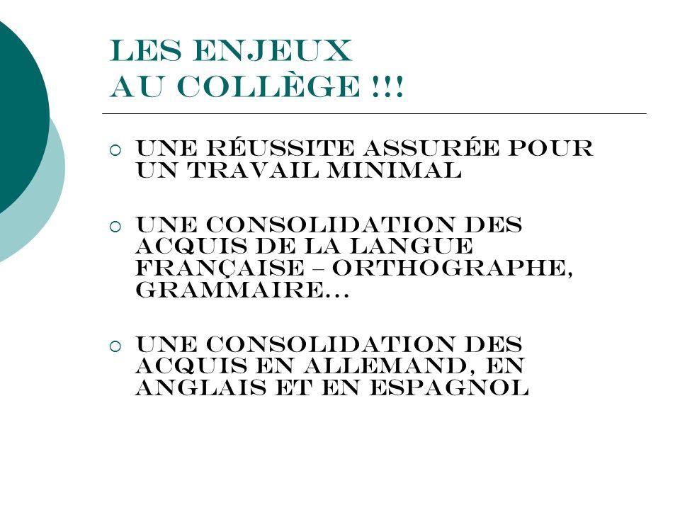 Les enjeux au Collège !!! Une réussite assurée pour un travail minimal Une consolidation des acquis de la Langue Française – Orthographe, Grammaire… U