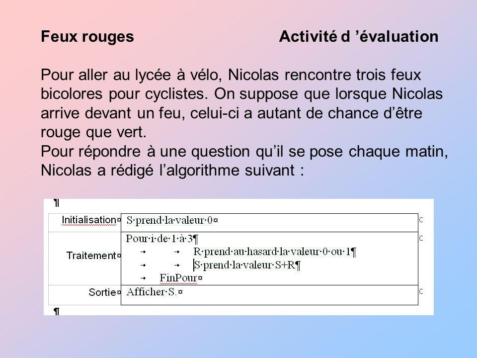 Feux rouges Activité d évaluation Pour aller au lycée à vélo, Nicolas rencontre trois feux bicolores pour cyclistes.