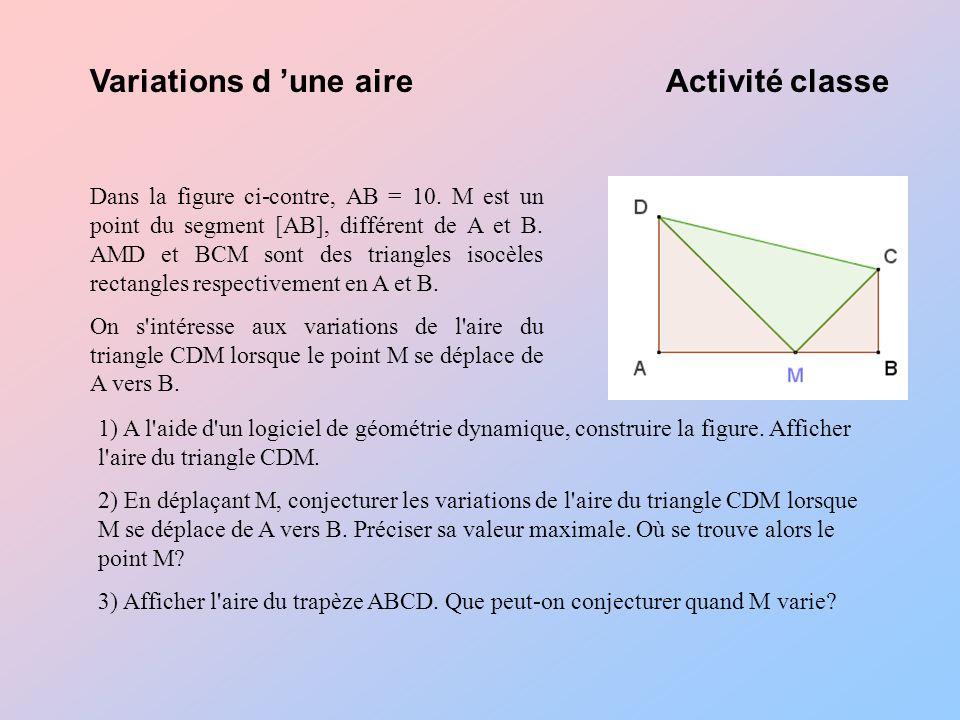 Variations d une aireActivité classe Dans la figure ci-contre, AB = 10.