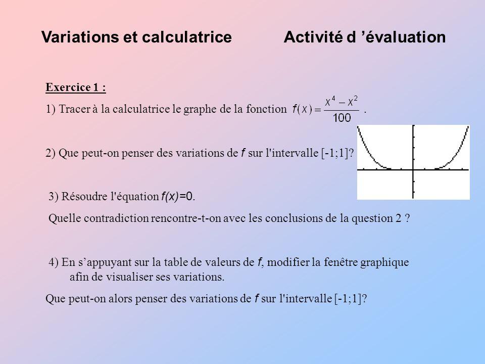 Variations et calculatriceActivité d évaluation Exercice 1 : 1) Tracer à la calculatrice le graphe de la fonction.