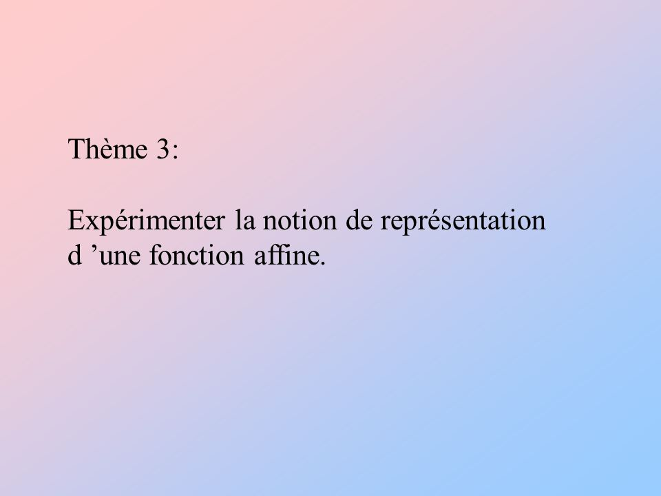 Thème 3: Expérimenter la notion de représentation d une fonction affine.
