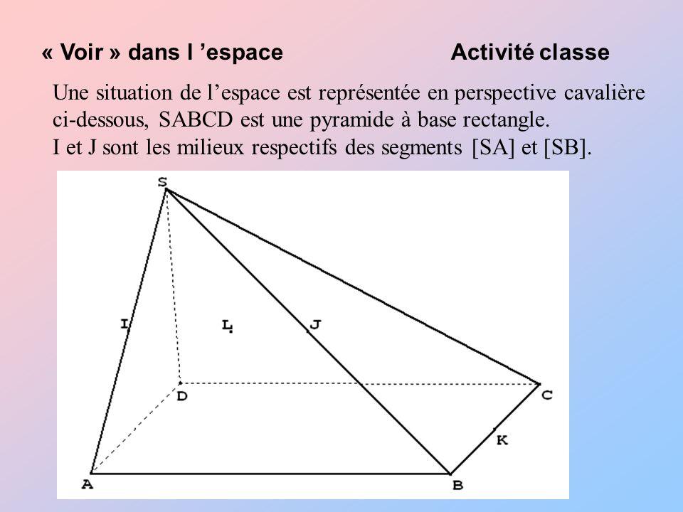 Une situation de lespace est représentée en perspective cavalière ci-dessous, SABCD est une pyramide à base rectangle.