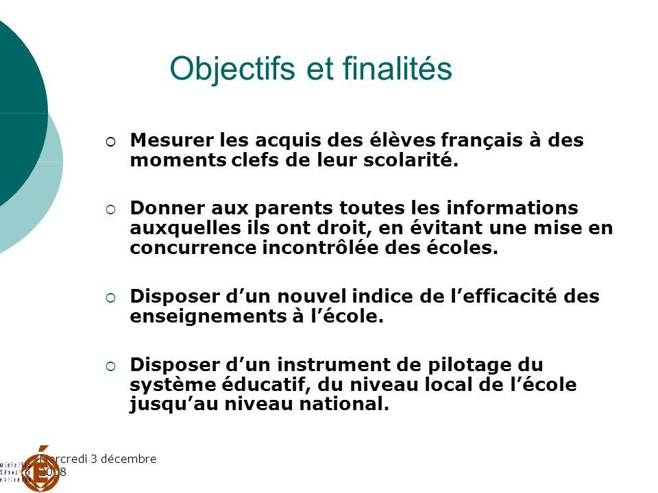 Mercredi 3 décembre 2008 Objectifs et finalités Mesurer les acquis des élèves français à des moments clefs de leur scolarité. Donner aux parents toute