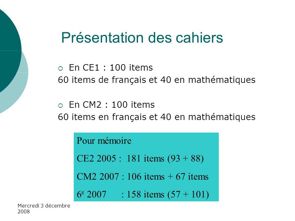 En CE1 : 100 items 60 items de français et 40 en mathématiques En CM2 : 100 items 60 items en français et 40 en mathématiques Pour mémoire CE2 2005 :