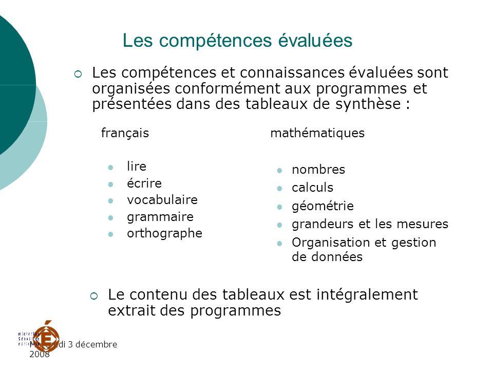 Mercredi 3 décembre 2008 Les compétences évaluées Les compétences et connaissances évaluées sont organisées conformément aux programmes et présentées