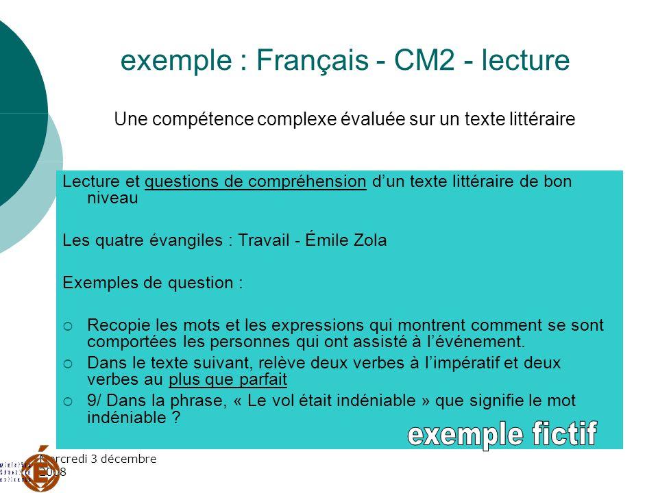 Mercredi 3 décembre 2008 exemple : Français - CM2 - lecture Une compétence complexe évaluée sur un texte littéraire Lecture et questions de compréhens