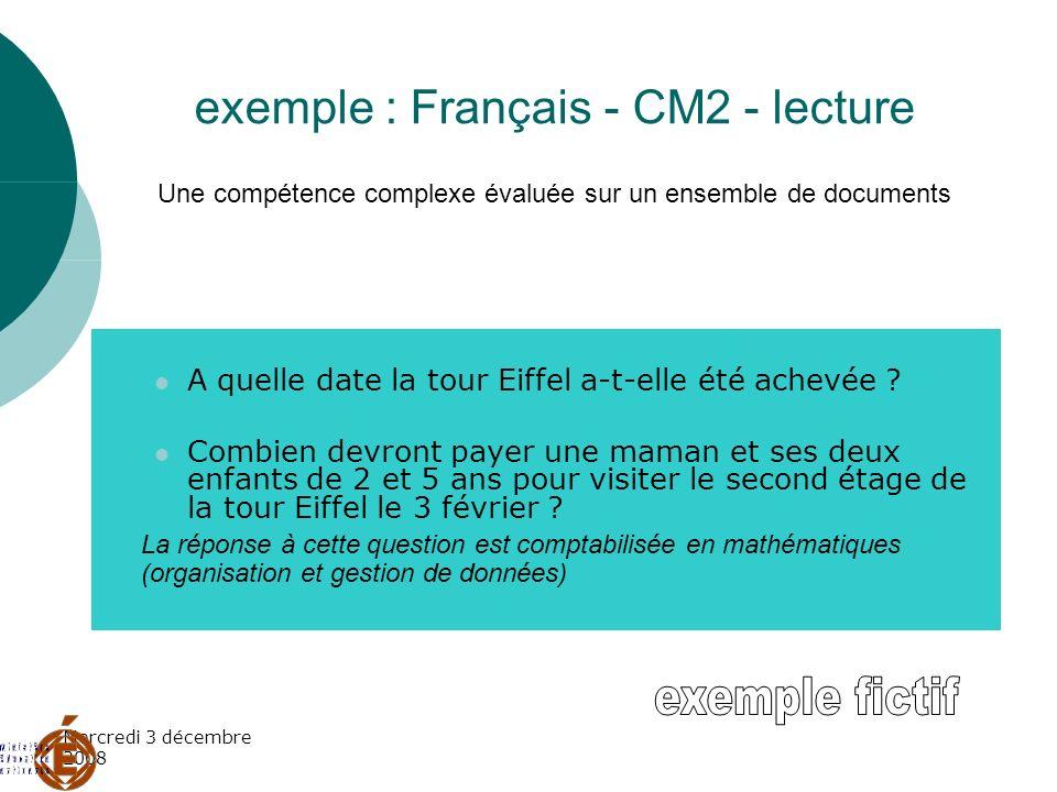 Mercredi 3 décembre 2008 exemple : Français - CM2 - lecture Une compétence complexe évaluée sur un ensemble de documents A quelle date la tour Eiffel