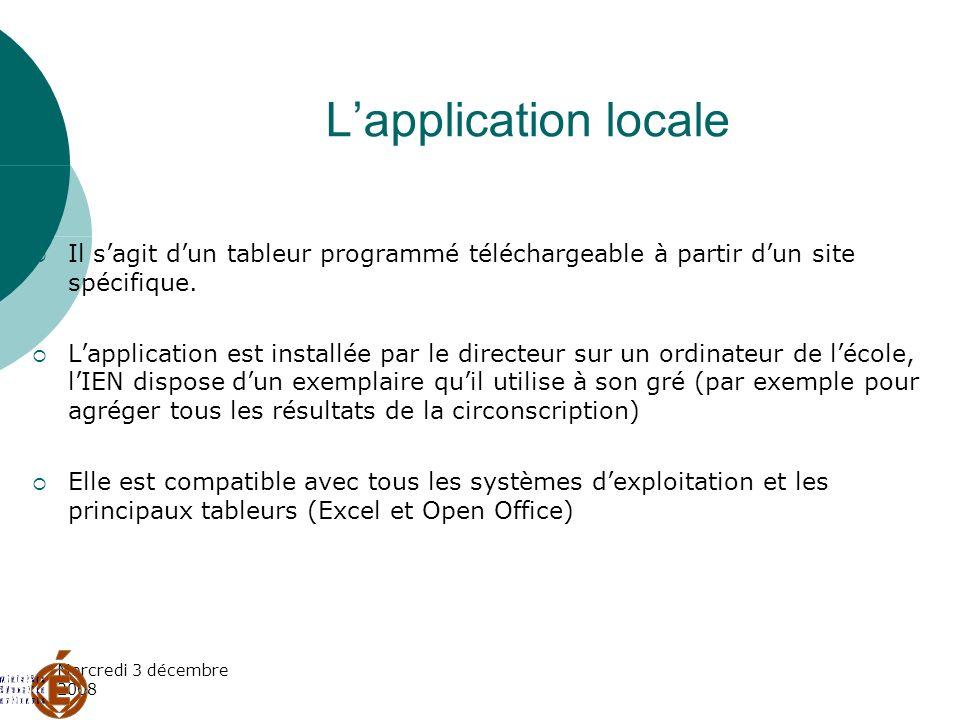 Mercredi 3 décembre 2008 Lapplication locale Il sagit dun tableur programmé téléchargeable à partir dun site spécifique. Lapplication est installée pa