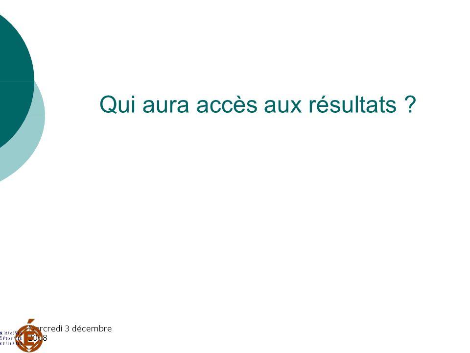 Mercredi 3 décembre 2008 le grand public aura accès aux résultats globaux de la France entière des académies des départements Par consultation du site national