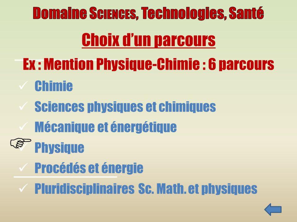 Choix dun parcours Ex : Mention Physique-Chimie : 6 parcours Chimie Sciences physiques et chimiques Mécanique et énergétique Physique Procédés et énergie Pluridisciplinaires Sc.