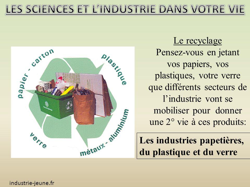Le recyclage Pensez-vous en jetant vos papiers, vos plastiques, votre verre que différents secteurs de lindustrie vont se mobiliser pour donner une 2° vie à ces produits: industrie-jeune.fr Les industries papetières, du plastique et du verre