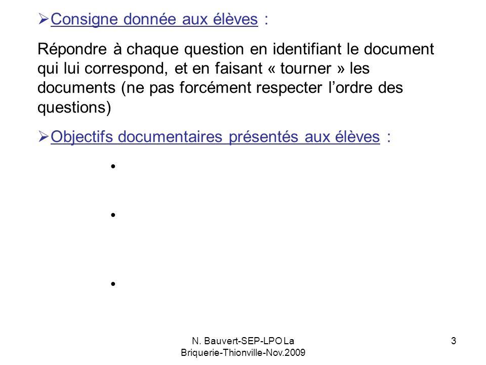 N. Bauvert-SEP-LPO La Briquerie-Thionville-Nov.2009 3 Consigne donnée aux élèves : Répondre à chaque question en identifiant le document qui lui corre