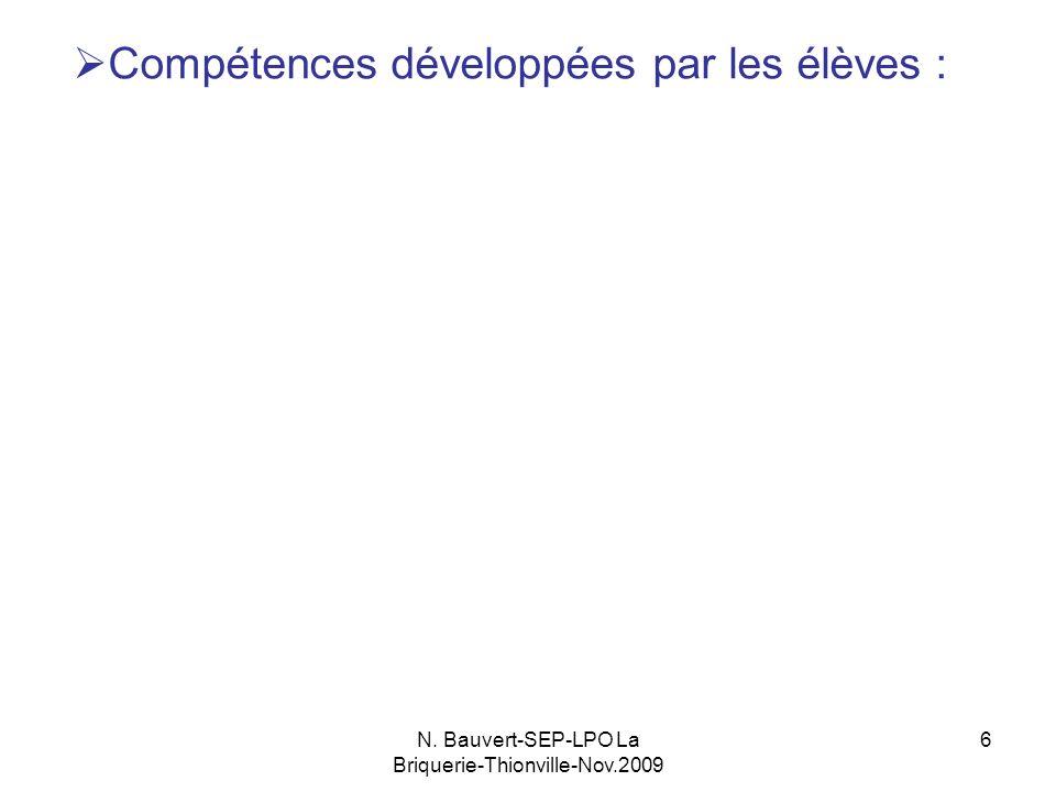 N. Bauvert-SEP-LPO La Briquerie-Thionville-Nov.2009 6 Compétences développées par les élèves : a.