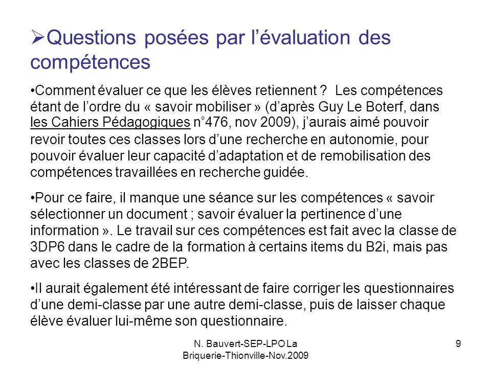 N. Bauvert-SEP-LPO La Briquerie-Thionville-Nov.2009 9 Questions posées par lévaluation des compétences Comment évaluer ce que les élèves retiennent ?