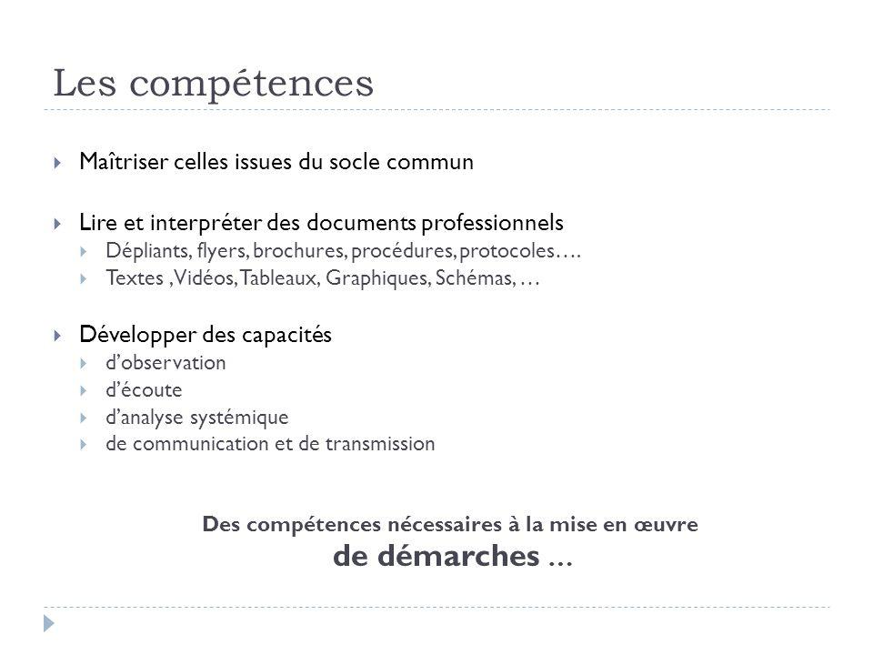 Les compétences Maîtriser celles issues du socle commun Lire et interpréter des documents professionnels Dépliants, flyers, brochures, procédures, protocoles….