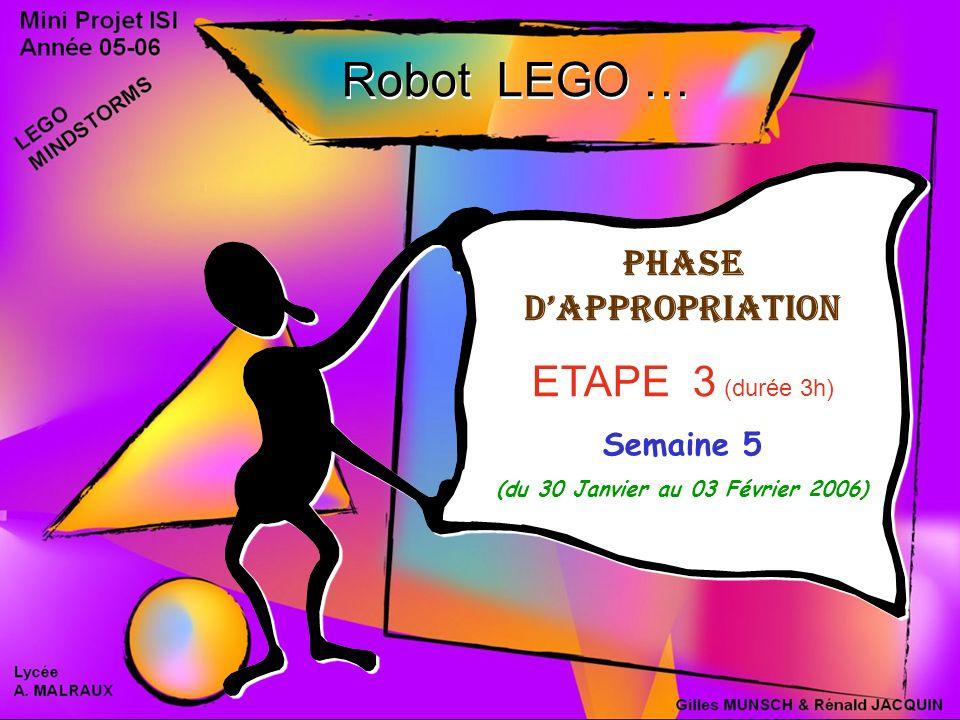 Phase dappropriation ETAPE 3 (durée 3h) Semaine 5 (du 30 Janvier au 03 Février 2006) Phase dappropriation ETAPE 3 (durée 3h) Semaine 5 (du 30 Janvier au 03 Février 2006) Robot LEGO …